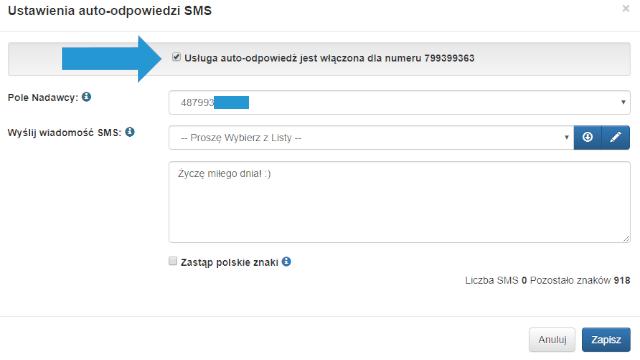 Autoodpowiedź na SMS w TeleCube, ustawienia