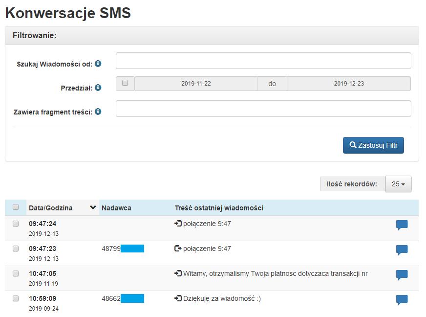 Konwersacje SMS wTeleCube, filtry