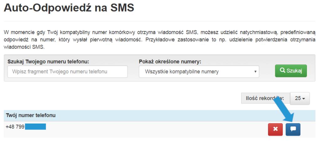 Autoodpowiedź naSMS wTeleCube, tworzenie