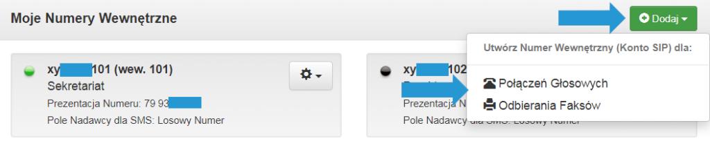 Numery wewnętrzne naPanelu TeleCube