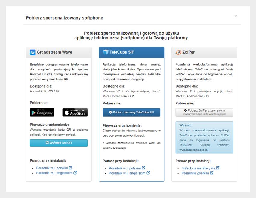Aplikacje softphone naPanelu Klienta TeleCube
